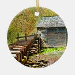 Mingus Mill, Great Smoky Mountains Round Ceramic Decoration