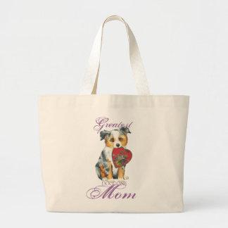 Mini American Shepherd Heart Mom Large Tote Bag