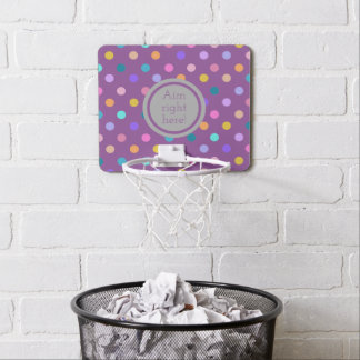 Mini basketball goal purple polka dot print mini basketball hoop