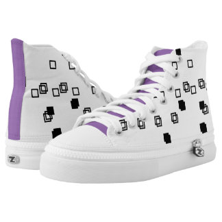 Mini Black Square Pattern in Purple High Top Shoes Printed Shoes