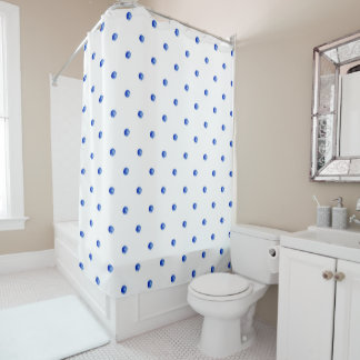 Mini Blue Watercolor Polka Dots Shower Curtain