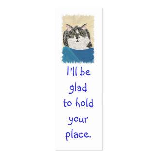 Mini Bookmark Cards, Black WhiteTuxedo Cat Pack Of Skinny Business Cards