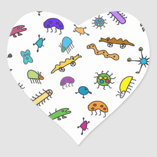 Mini Bugs and Mini Beasts Heart Sticker