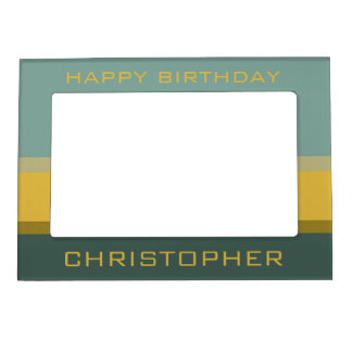 Mini Bus Blues Palette Stripe Personalized Magnetic Picture Frame