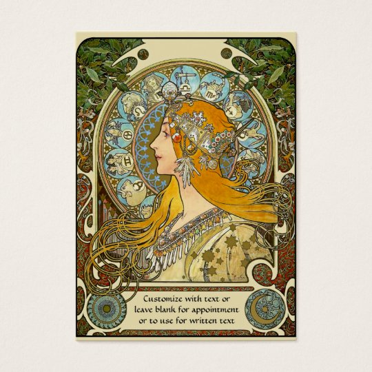 Mini Calendar Pocket Card with Mucha Zodiac design