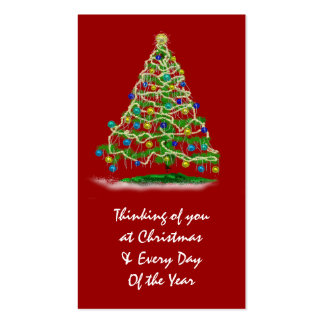 Mini Cards w Christmas Tree & Calendar on Back Pack Of Standard Business Cards