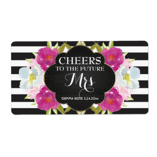 Mini Champagne Label Bridal Shower Favor Shipping Label