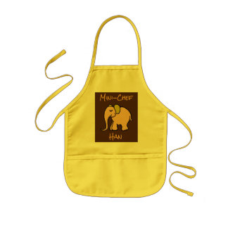 Mini-Chef's Custom Name Orange Cartoon Elephant Kids Apron