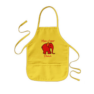 Mini-Chef's Custom Name Red Cartoon Elephant Kids Apron