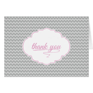 Mini Chevron in Baby Pink Thank You Card