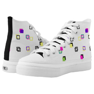 Mini Colourful Square Pattern Zips High Top Shoes Printed Shoes
