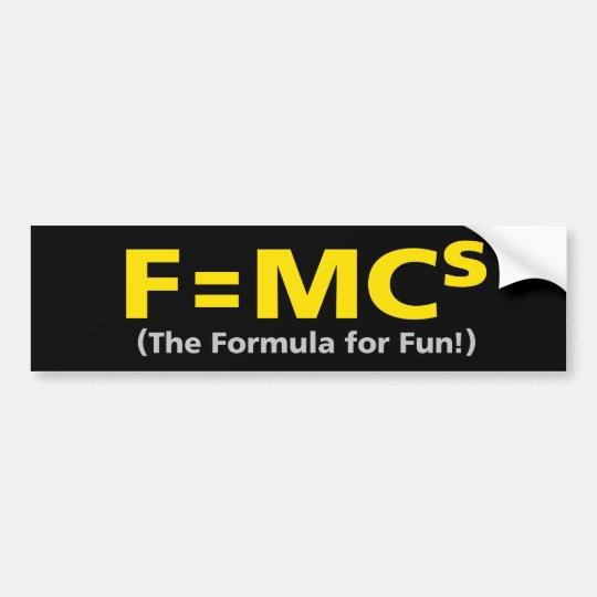 MINI COOPER FORMULA FOR FUN Bumpersticker Bumper Sticker