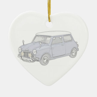 Mini Cooper Vintage-colored Ceramic Heart Decoration