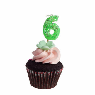 Mini cupcake with birthday candle for six year old standing photo sculpture