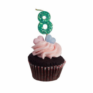 Mini cupcake with candle for eight year old standing photo sculpture