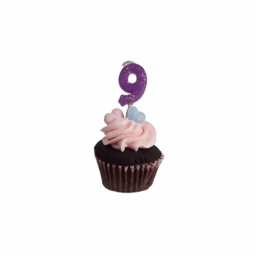 Mini cupcake with number nine candle photo sculptures