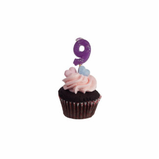 Mini cupcake with number nine candle standing photo sculpture