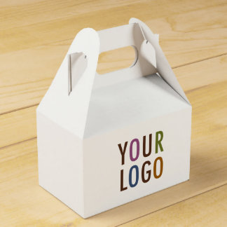 Mini Gable Favor Gift Box with Handle Company Logo