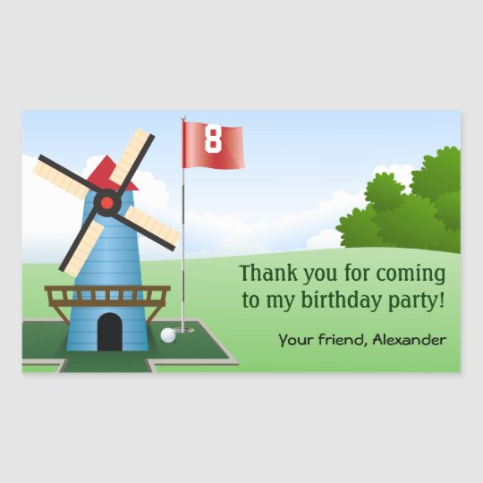 Mini Golf Windmill Fairway Party Sticker
