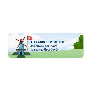 Mini Golf WIndmill Return Address Label
