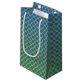 Mini Green Blue Ombre White Quatrefoil Small Gift Bag