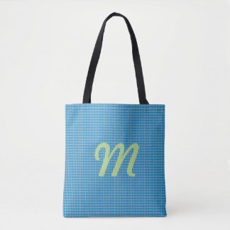 Mini Harlequin Diamonds | Blue Silver Tote Bag
