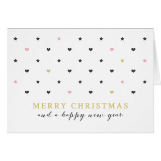 Mini Hearts & Star | Pink Gold Merry Christmas Greeting Card