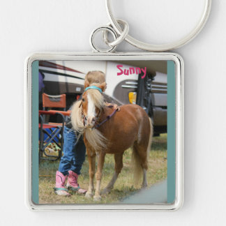 Mini Horse Silver-Colored Square Key Ring