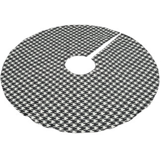 Mini Houndstooth Pattern Black and White Brushed Polyester Tree Skirt