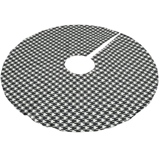 Mini Houndstooth Pattern Black and White Brushed Polyester