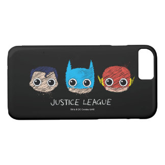 Mini Justice League Heads Sketch iPhone 8/7 Case