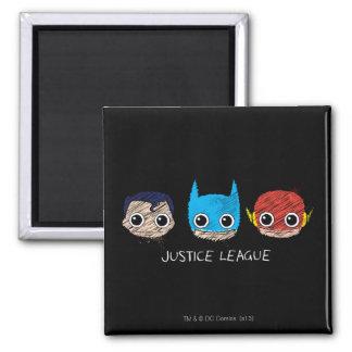 Mini Justice League Heads Sketch Magnet