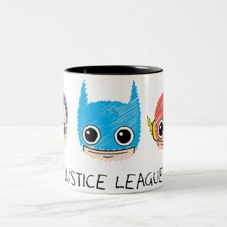 Mini Justice League Heads Sketch Two-Tone Coffee Mug