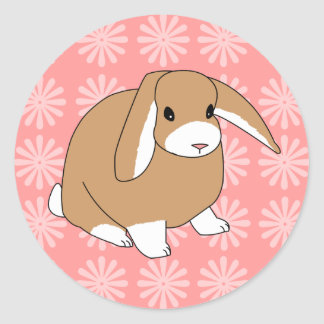 Mini Lop Rabbit Classic Round Sticker