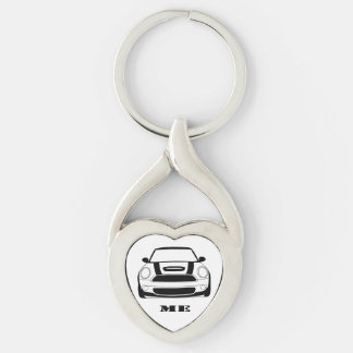 MINI Me Heart Key Chain Silver-Colored Twisted Heart Key Ring
