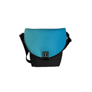 "Mini Messenger Bag: ""Aqua Blue Ombre"" Courier Bag"