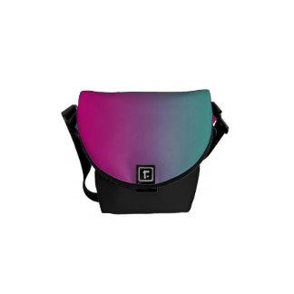 "Mini Messenger Bag: ""Magenta Purple Teal Ombre"" Commuter Bag"