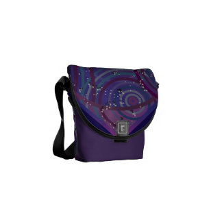 Mini Messenger Bag Purple Swirls