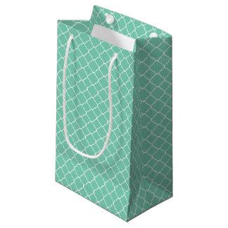 Mini Mint and White Quatrefoil Small Gift Bag