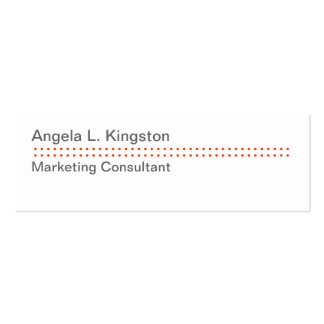 Mini modern micro dot cheery red gray custom pack of skinny business cards