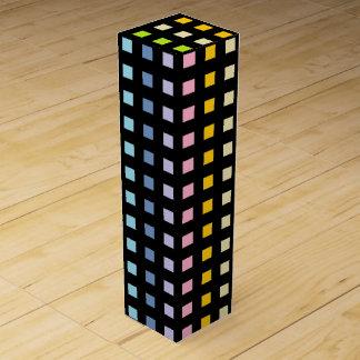 Mini Pastel Rainbow Squares Black Wine Box