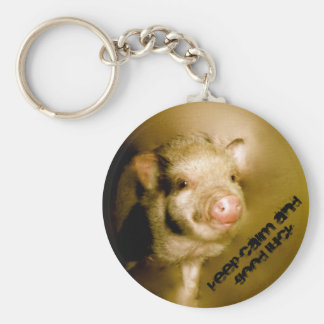 """Mini pig """"Keep calm and good luck """" Basic Round Button Key Ring"""