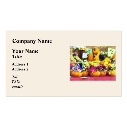 Mini Pumpkins and Gourds at Farmer's Market Business Card Templates