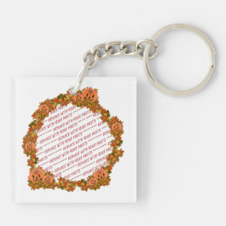 Mini Pumpkins w/Circle of Fall Leaves Frame Double-Sided Square Acrylic Key Ring