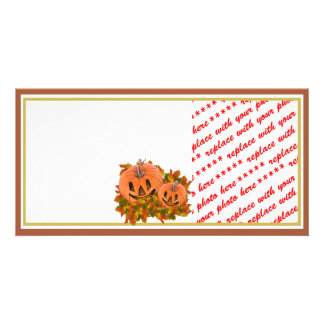 Mini Pumpkins with Fall Leaves Photo Frame Photo Greeting Card