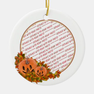 Mini Pumpkins with Fall Leaves Photo Frame Round Ceramic Decoration