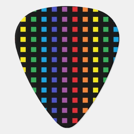 Mini Rainbow Squares Black Guitar Pick