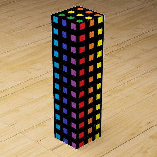 Mini Rainbow Squares Black Wine Box