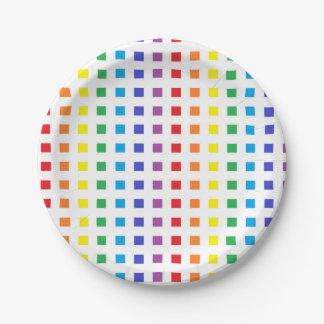Mini Rainbow Squares Paper Plate