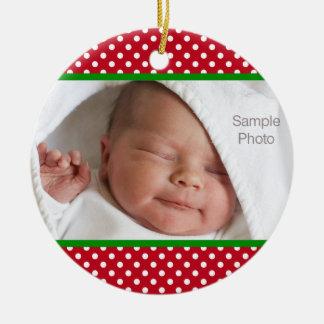 Mini Red White Polka Dots Christmas Baby Photo Christmas Ornament